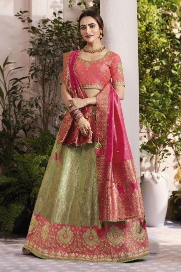 Beautiful Green Silk and Jacquard Embroidered Designer Lehenga Choli With Silk and Jacquard Dupatta