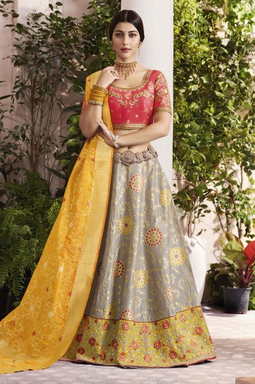 Lovely Grey and Yellow Silk and Jacquard Embroidered Designer Lehenga Choli With Silk and Jacquard Dupatta