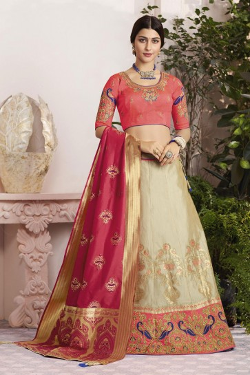 Ultimate Cream Silk and Jacquard Embroidered Designer Lehenga Choli With Silk and Jacquard Dupatta