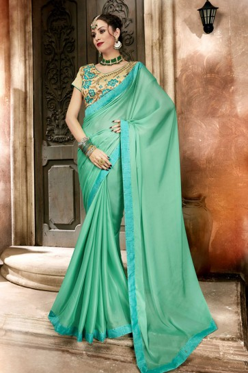 Beautiful Turquoise Lace Work Georgette Saree With Banglori Silk Blouse