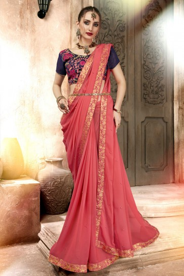 Charming Peach Lace Work Georgette Saree With Banglori Silk Blouse