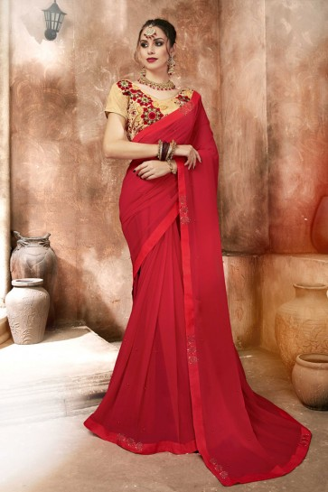 Supreme Red Lace Work Georgette Saree With Banglori Silk Blouse