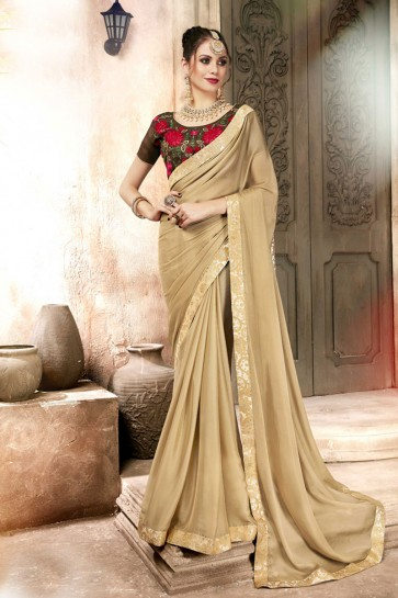 Lovely Beige Lace Work Georgette Saree With Banglori Silk Blouse