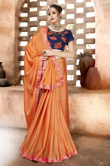 Marvelous Orange Lace Work Chiffon Saree With Banglori Silk Blouse