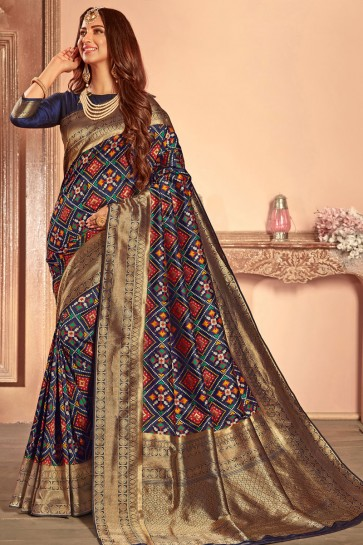 Optimum Navy Blue Silk Border Work Designer Saree With Silk Blouse