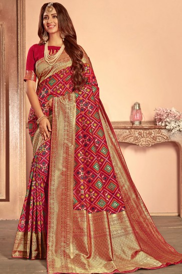 Beautiful Pink Silk Border Work Designer Saree With Silk Blouse