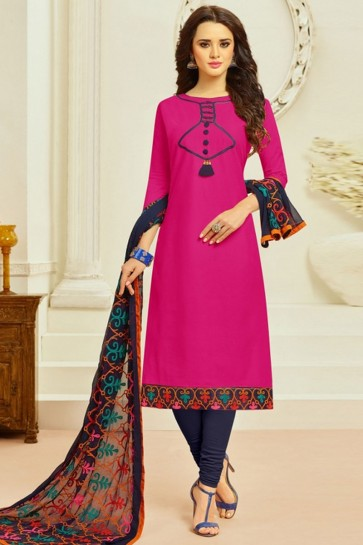 Beautiful Magenta Cotton Embroidered Casual Salwar Suit With Chiffon Dupatta