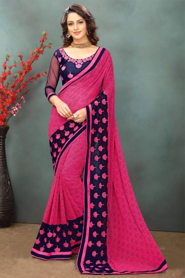 Marvelous Pink Georgette Casual Saree With Dhupion Blouse