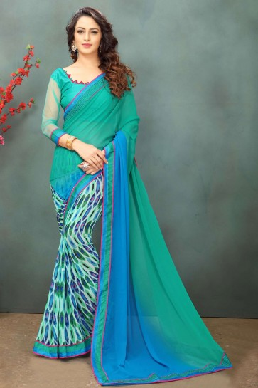 Classic Turquoise Georgette Casual Saree With Dhupion Blouse