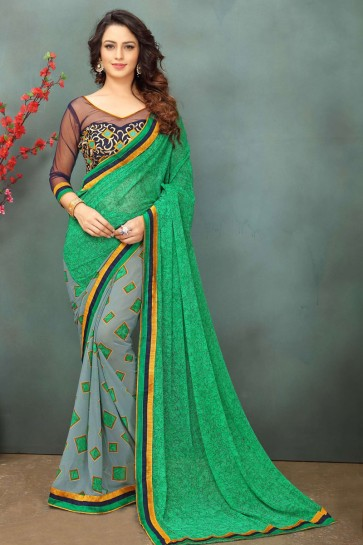 Charming Green and Grey Georgette Casual Saree With Dhupion Blouse