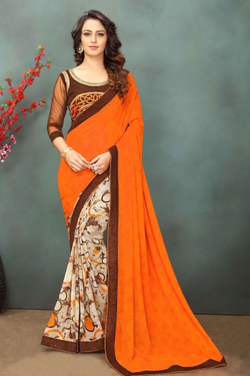 Beautiful Orange and Cream Georgette Casual Saree With Dhupion Blouse