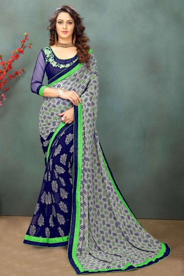 Lovely Grey and Blue Georgette Casual Saree With Dhupion Blouse