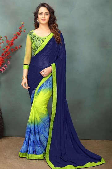 Ultimate Navy Blue Georgette Casual Saree With Dhupion Blouse