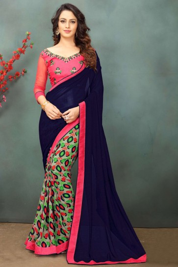 Pretty Navy Blue Georgette Casual Saree With Dhupion Blouse