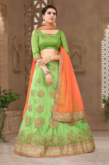 Gorgeous Green Net Embroidered Designer Lehenga Choli With Net Dupatta