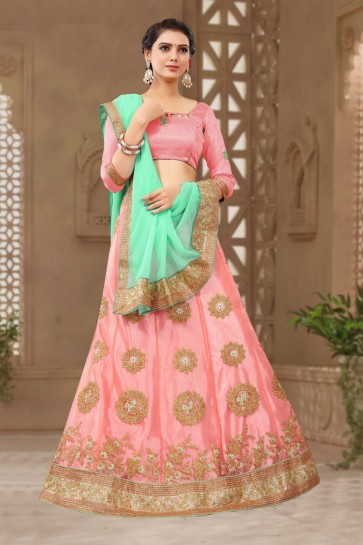 Marvelous Pink Satin and Silk Embroidered Designer Lehenga Choli With Net Dupatta