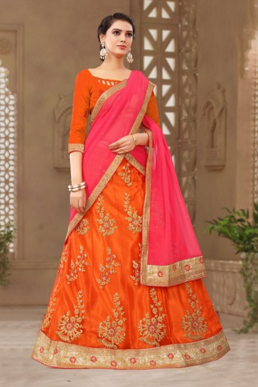 Graceful Orange Satin and Silk Embroidered Long Length Designer Lehenga Choli With Net Dupatta