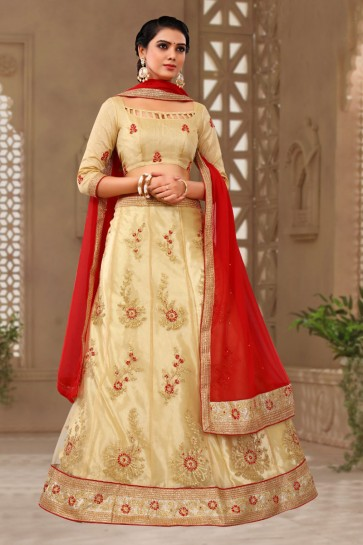 Desirable Golden Satin and Silk Embroidered Designer Lehenga Choli With Net Dupatta