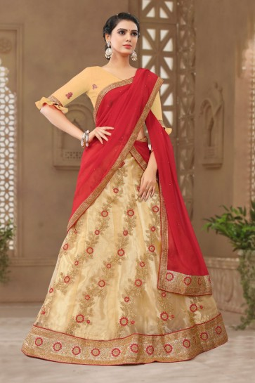 Admirable Cream Satin and Silk Embroidered Long Length Designer Lehenga Choli With Net Dupatta