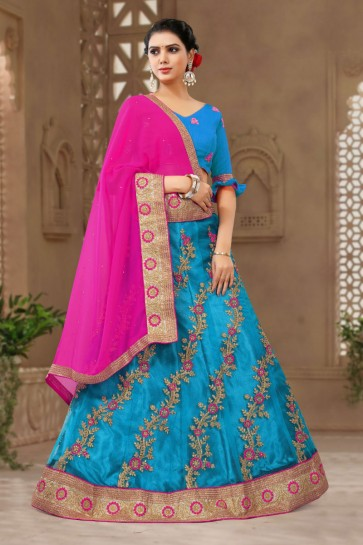 Excellent Blue Satin and Silk Embroidered Long Length Designer Lehenga Choli With Net Dupatta