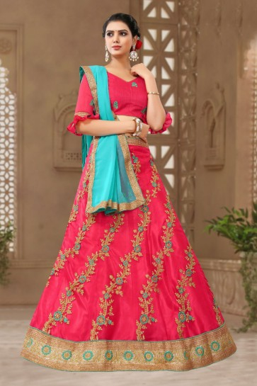Beautiful Magenta Satin and Silk Embroidered Designer Lehenga Choli With Net Dupatta