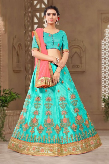 Lovely Sky Blue Satin and Silk Embroidered Long Length Designer Lehenga Choli With Net Dupatta