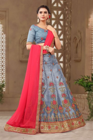 Classic Grey Net Embroidered Designer Lehenga Choli With Net Dupatta
