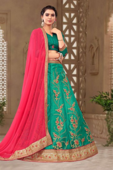 Admirable Green Net Embroidered Long Length Designer Lehenga Choli With Net Dupatta