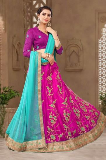 Graceful Magenta Satin and Silk Embroidered Long Length Designer Lehenga Choli With Net Dupatta