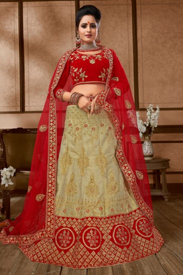 Supreme Beige and Red Silk Embroidered Bridal Lehenga Choli With Net Dupatta
