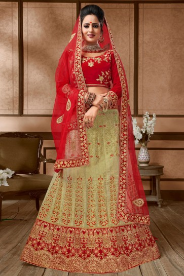 Classic Beige and Red Silk Embroidered Long Length Bridal Lehenga Choli With Net Dupatta