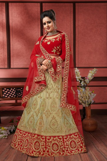 Beautiful Beige and Red Silk Embroidered Long Length Bridal Lehenga Choli With Net Dupatta