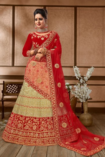 Gorgeous Beige and Red Silk Embroidered Bridal Lehenga Choli With Net Dupatta