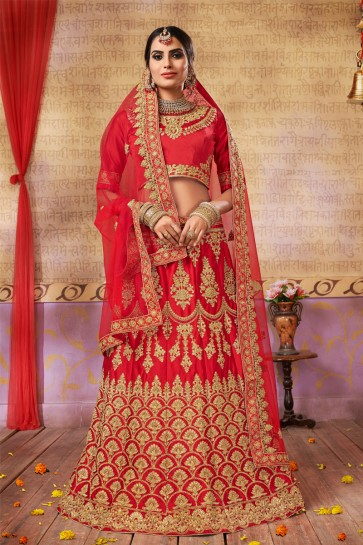 Excellent Red Silk and Satin Embroidered Bridal Lehenga Choli With Net Dupatta