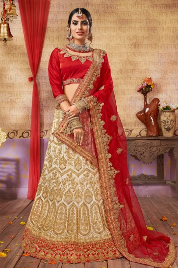 Ultimate Beige Silk and Satin Embroidered Long Length Bridal Lehenga Choli With Net Dupatta