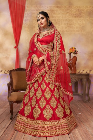 Lovely Red Silk and Satin Embroidered Long Length Bridal Lehenga Choli With Net Dupatta