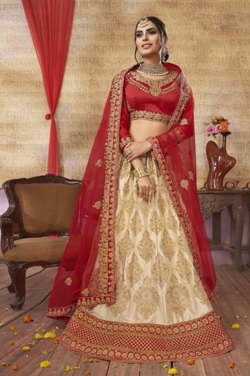 Pretty Beige Silk and Satin Embroidered Bridal Lehenga Choli With Net Dupatta