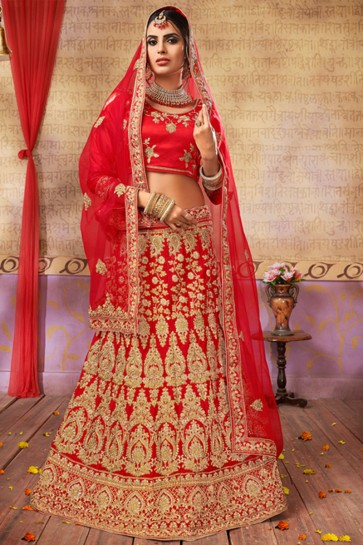 Stylish Red Silk and Satin Embroidered Long Length Bridal Lehenga Choli With Net Dupatta
