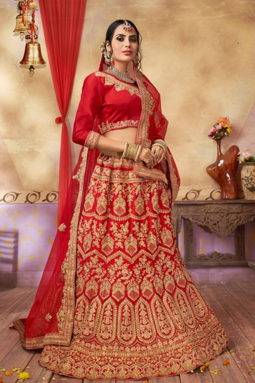 Marvelous Red Silk and Satin Embroidered Bridal Lehenga Choli With Net Dupatta