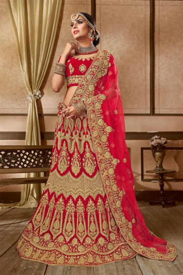 Gorgeous Red Velvet Embroidered Bridal Lehenga Choli With Net Dupatta