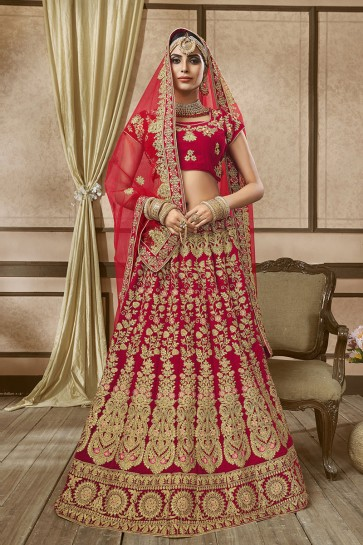 Supreme Red Velvet Embroidered Long Length Bridal Lehenga Choli With Net Dupatta