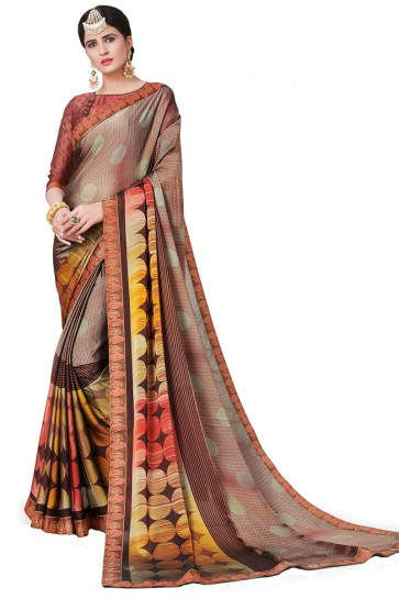 Classic Brown Satin and Georgette Printed Casual Saree With Satin and Georgette Blouse