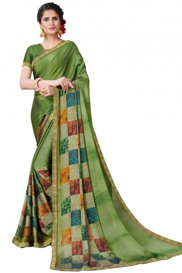 Beautiful Green Satin and Georgette Printed Casual Saree With Satin and Georgette Blouse