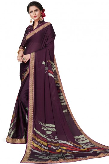 Pretty Purple Satin and Georgette Printed Casual Saree With Satin and Georgette Blouse