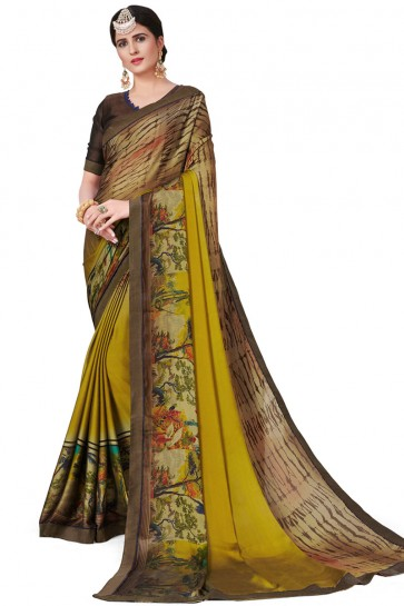 Charming Green Satin and Georgette Printed Casual Saree With Satin and Georgette Blouse