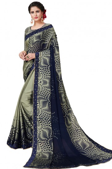 Admirable Blue Satin and Georgette Printed Casual Saree With Satin and Georgette Blouse