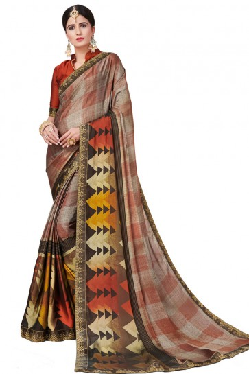 Lovely Brown Satin and Georgette Printed Casual Saree With Satin and Georgette Blouse