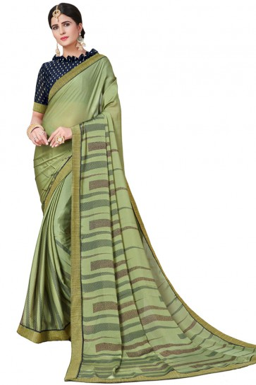Graceful Green Satin and Georgette Printed Casual Saree With Satin and Georgette Blouse