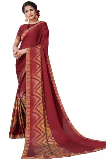 Ultimate Maroon Satin and Georgette Printed Casual Saree With Satin and Georgette Blouse