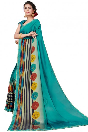 Desirable Turquoise Satin and Georgette Printed Casual Saree With Satin and Georgette Blouse